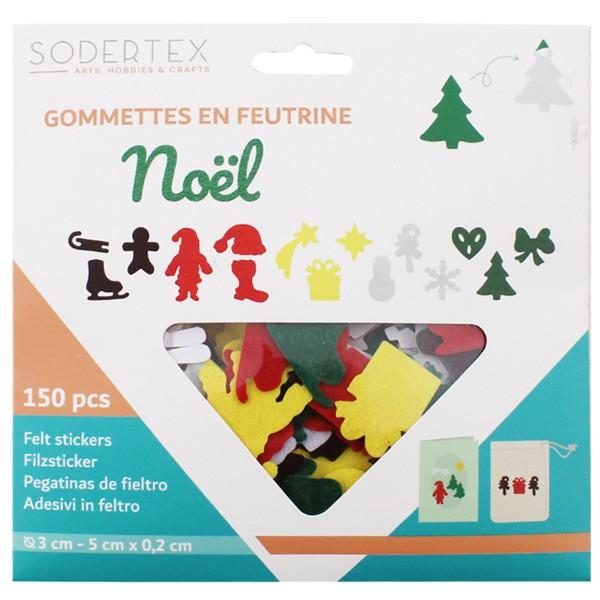 Formes adhésives en feutrine 1 mm - Motifs de Noël - 3 à 5 cm - 150 pcs - Photo n°4