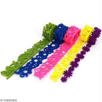 Lot de rubans en feutrine 3 mm - Colorful life - 5 pcs