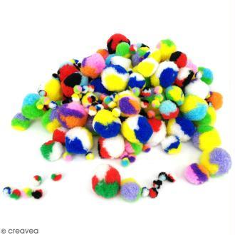 Pack pompons tricolores - 0,7 à 3 cm - 200 pcs