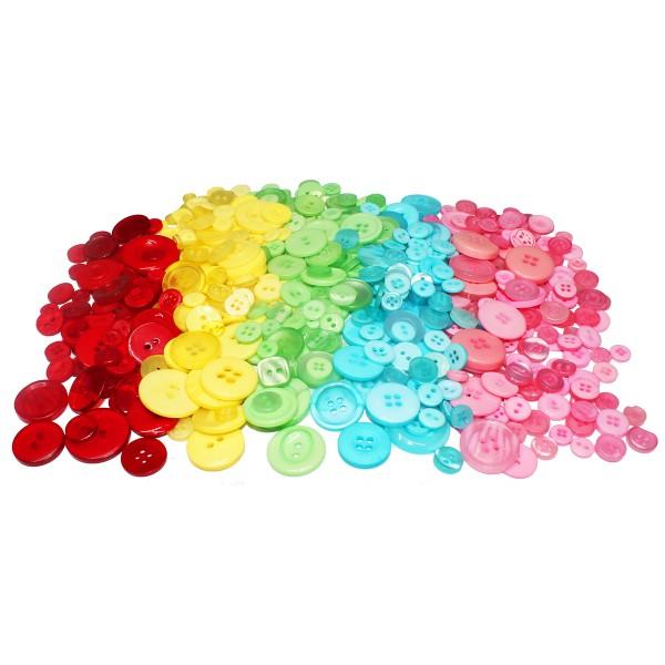 Pack boutons en résine - Couleurs assorties - 9 à 28 mm - 200 g - Photo n°1