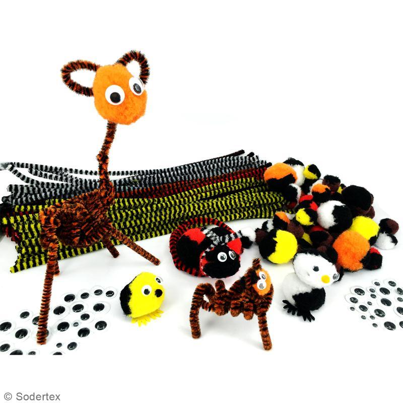 pack savan 39 pompons animaux en pompons et chenilles 6 couleurs assorties fil chenille. Black Bedroom Furniture Sets. Home Design Ideas