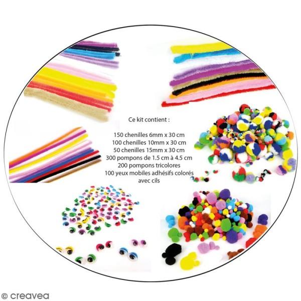 Maxi pack économique - Pompons et chenilles - 900 pcs - Photo n°1