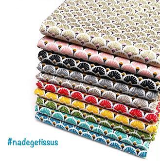 Lot 10 coupons tissus éventails de 50 cm x 50 cm - 10 coloris
