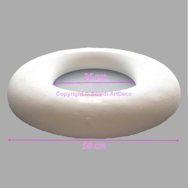 Demi Anneau en Polystyrène de Diamètre 50cm, Couronne à base plate, 6cm de haut - Photo n°1