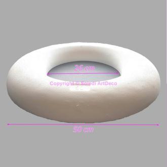 Demi Anneau en Polystyrène de Diamètre 50cm, Couronne à base plate, 6cm de haut