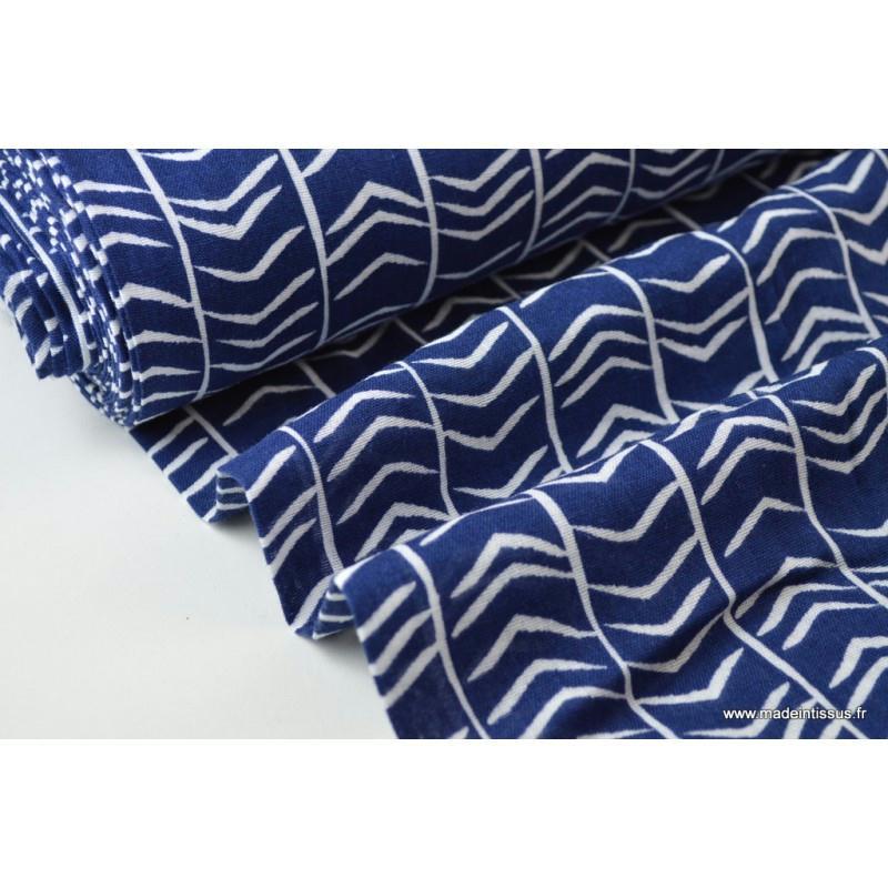 tissu double gaze coton imprim chevrons bleu et blanc x1m tissu uni creavea. Black Bedroom Furniture Sets. Home Design Ideas