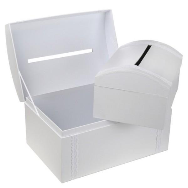 Set de 2 urnes tirelires coffre au trésor blanc - Photo n°1
