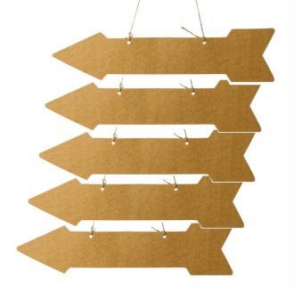 5 Flèches de direction kraft 45 cm x 10 cm