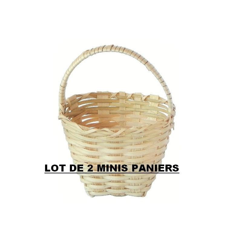 2 minis paniers ronds en bambou tress accessoires pour for Bambou en interieur