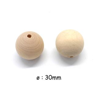 3 Grosses Perles En Bois Ronde 30mm De Couleur Naturel Sable