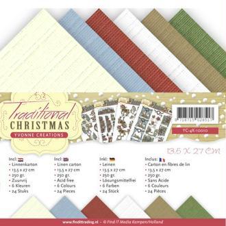 Bloc de 24 cartons en fibres de lin 13,5 x 27 cm Yvonne créations TRADITIONAL CHRISTMAS