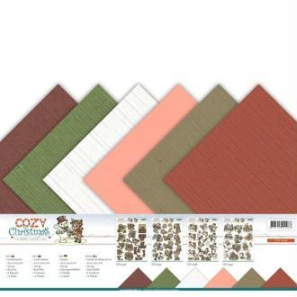 Bloc de 12 cartons en fibres de lin 30.5 x 30.5 cm Yvonne créations COZY CHISTMAS