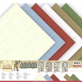 Bloc de 12 cartons en fibres de lin 30.5 x 30.5 cm Yvonne créations TRADITIONAL CHRISTMAS