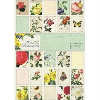 Bloc de 32 papiers 14,6 x 21 cm Docrafts Papermania BOTANICALS