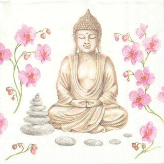 4 Serviettes en papier Inde Bouddha Galet Format Lunch