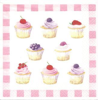 4 Serviettes en papier Cupcakes Cuisine Pâtisserie Format Lunch