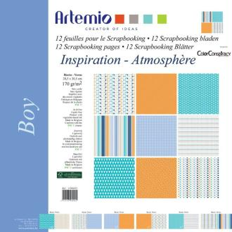Papier scrapbooking Naissance Garçon motif - Set 12 papiers recto/verso 30,5 cm