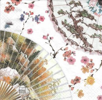 4 Serviettes en papier Décor Asie éventail Format Lunch