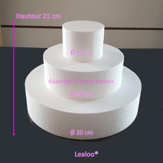 Petite Pièce montée en polystyrène, Base Ø 30cm à 10cm, 3 disques