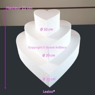 Petite Pièce montée Coeur en polystyrène, Base Diam. 30cm à 10cm, 3 socl