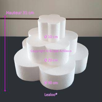 Petite Pièce montée Fleur en polystyrène, Base Diam. 30cm à 10cm, 3 socl