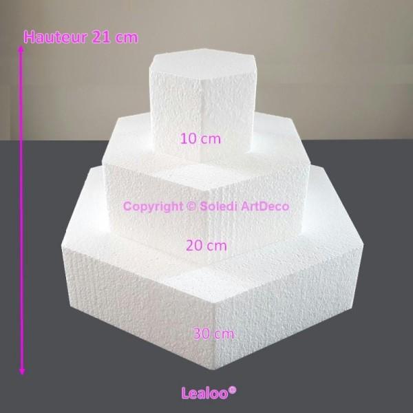 Petite Pièce montée Hexagonale en polystyrène, Base 30cm à 10cm, 3 socle - Photo n°1