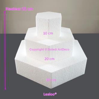 Petite Pièce montée Hexagonale en polystyrène, Base 30cm à 10cm, 3 socle