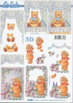Feuille 3D à découper A4  Enfant Nounours
