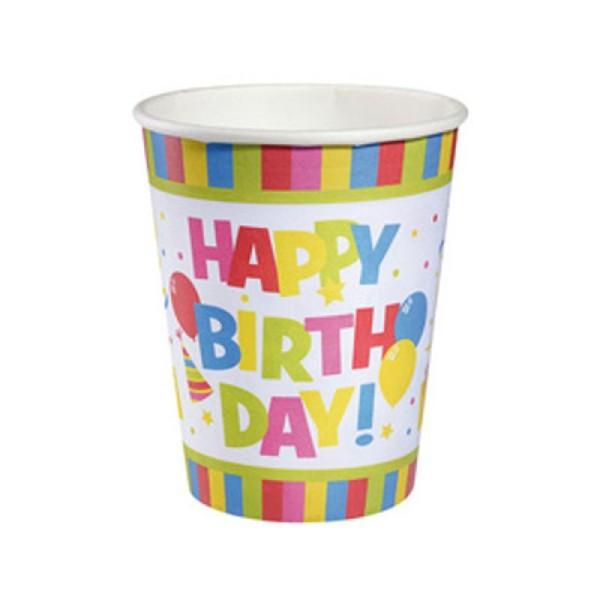 Gobelet en carton Happy Birthday 0,25 l 10 pièces - Photo n°1