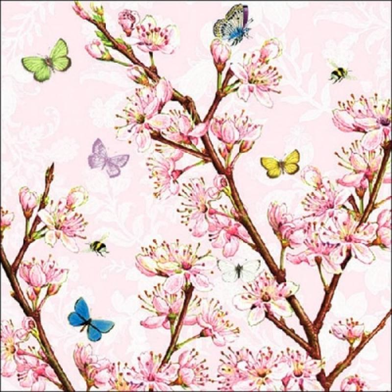 4 serviettes en papier d coupage collage 33 cm fleur rose 406 serviette fleurs creavea. Black Bedroom Furniture Sets. Home Design Ideas