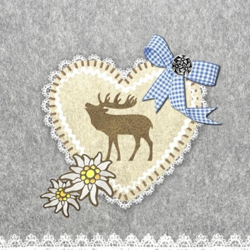 4 serviettes en papier d coupage collage 33 cm noel c ur renne serviette en papier no l creavea - Decoupage papier deco noel ...