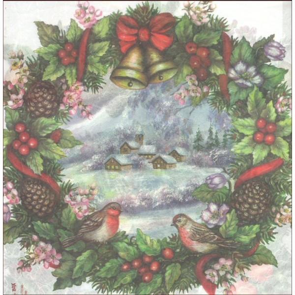 Papier de riz Couronne de fruits oiseau Noël 48x33 cm - Photo n°2