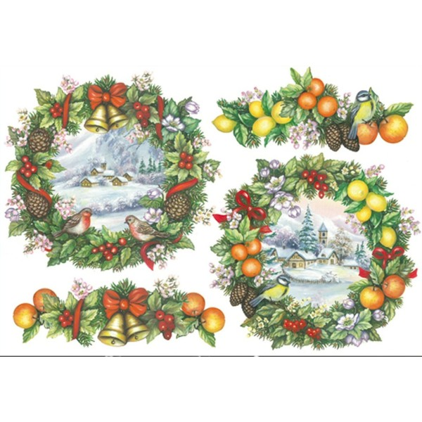 Papier de riz Couronne de fruits oiseau Noël 48x33 cm - Photo n°1