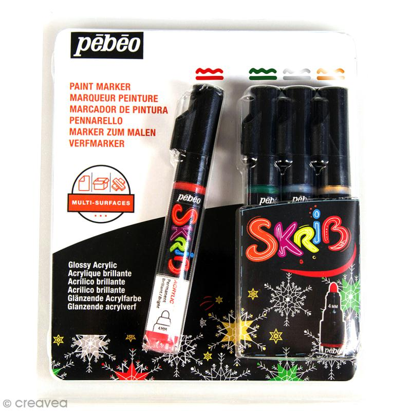 coffret skrib marqueur peinture acrylique no l 4. Black Bedroom Furniture Sets. Home Design Ideas