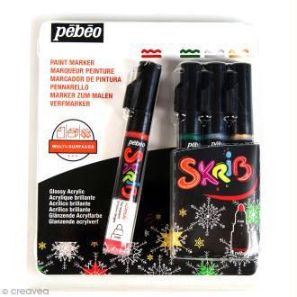 Coffret Skrib Marqueur peinture acrylique - Noël - 4 marqueurs