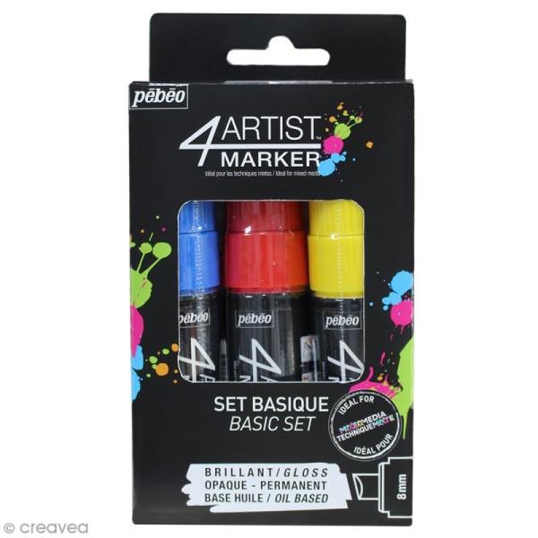 Set de 3 marqueurs à huile 4Artist Marker - Pointe biseautée - 8 mm - 3 coloris Basique - Photo n°1