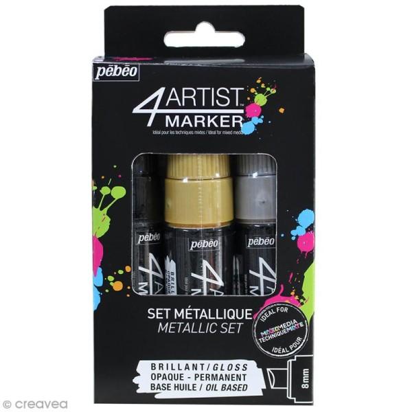 Set de 3 marqueurs à huile 4Artist Marker - Pointe biseautée - 8 mm - 3 coloris Metal - Photo n°1