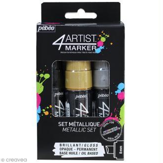 Set de 3 marqueurs à huile 4Artist Marker - Pointe biseautée - 8 mm - 3 coloris Metal