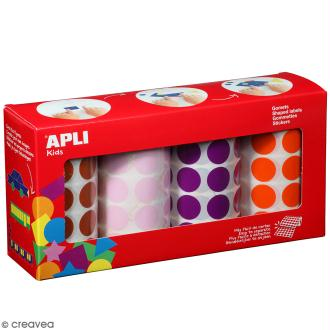 Pack de 4 rouleaux de gommettes rondes - Marron, rose, violet, orange - 20 mm - 4 x 1 770 pcs