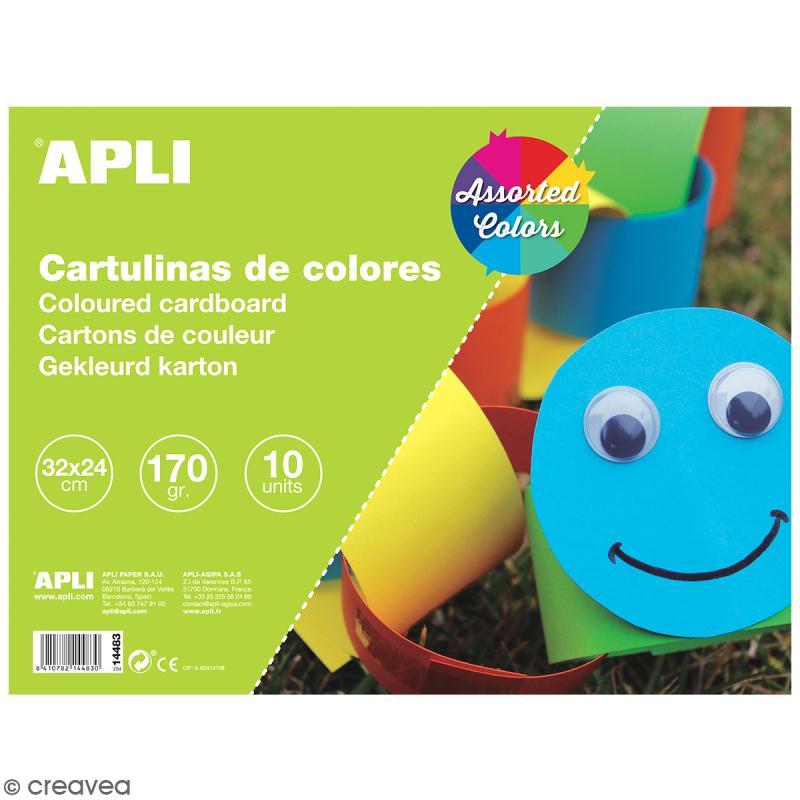 Bloc papier carton Apli - Couleurs - 24 x 32 cm - 10 pcs - Photo n°1