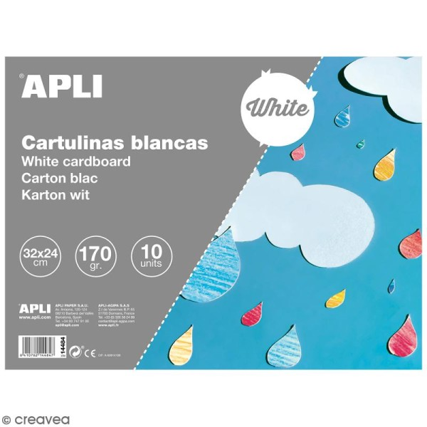 Bloc papier carton Apli - Blanc - 24 x 32 cm - 10 pcs - Photo n°1