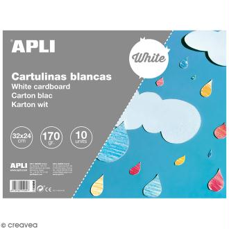 Bloc papier carton Apli - Blanc - 24 x 32 cm - 10 pcs
