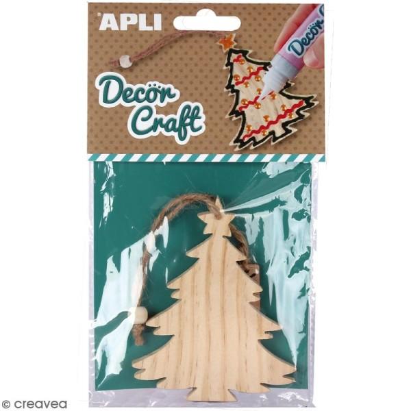 Sapin de Noël en bois à décorer APLI Decorcraft - 7,5 x 10 cm - Photo n°1