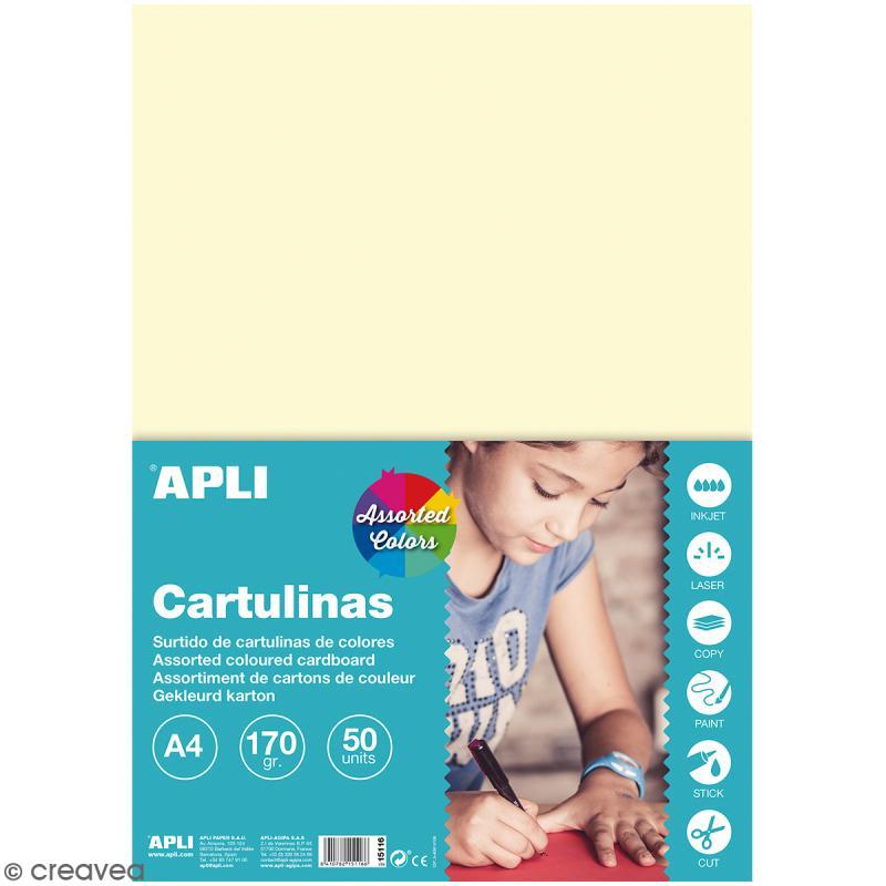 Set papier carton Apli - Couleurs pastel - A4 - 50 pcs - Photo n°1