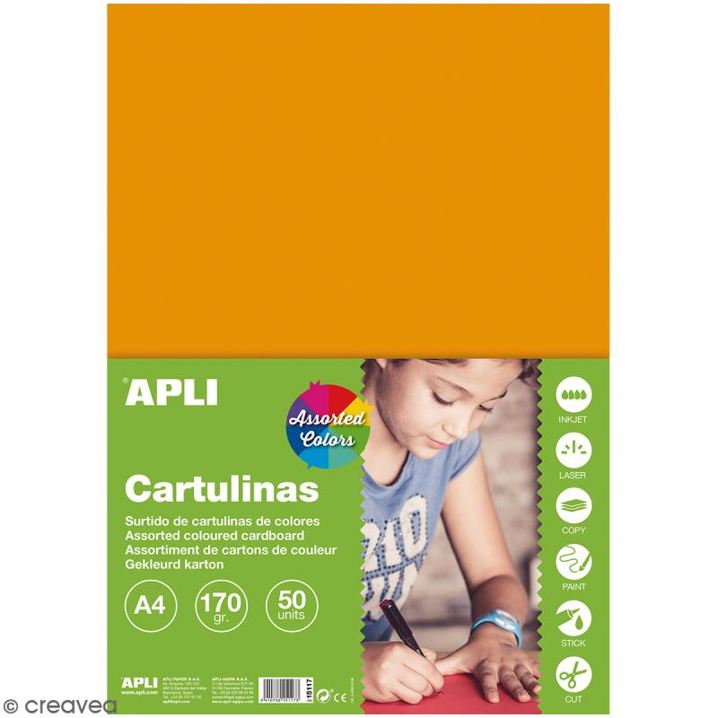 Set papier carton Apli - Couleurs vives - A4 - 50 pcs - Photo n°1