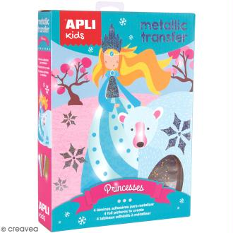 Kit Feuilles transfert métalliques APLI Kids - Princesses - 4 pcs