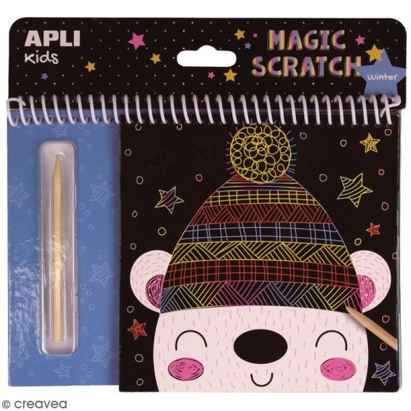 Livre cartes à gratter Magic Scratch APLI Kids - Hiver - 8 pcs - Photo n°1