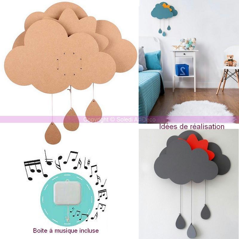 Kit nuage d corer avec bo te musique en bois brut dim for Accessoires pour la cuisine