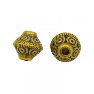 10x Perles Intercalaires Toupies en metal 6x7mm OR ANTIQUE