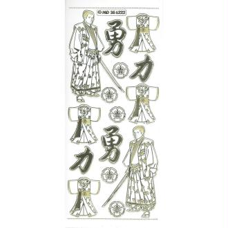 Stickers Double Embossage Samouraï Asie MD356222 blanc doré